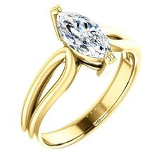 Diamond Engagement Rings : 1.0 Ct Marquise Ring 14k Yellow Gold