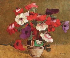 Anemone (Anemones), probably the best-known painting by famous Romanian artist Stefan Luchian, will be put up for sale at an Artmark auction this October. Art Prints For Sale, Fine Art Prints, Most Famous Paintings, Bouquet, Still Life Art, Affordable Art, Botanical Art, Art Day, Home Art