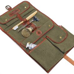 DRAKENSBERG Kimberley Wash Bag, wet pack, toiletry bag, trifold, leather canvas, vintage, green brown