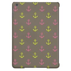 Brown, Pink Green Nautical Anchors Pattern iPad Air Covers