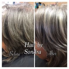 No need for dull, gray hair! Sondra lightened, and brightened her client's gray hair by highlighting with Redken Flash Lift and toned with Redken Shades EQ.