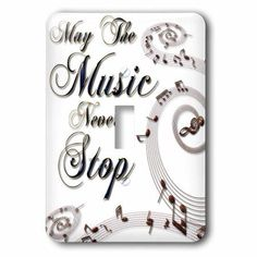3dRose May The Music Never Stop With Musical Notes, Single Toggle Switch
