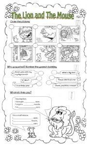 English worksheet: The Lion and The Mouse - Worksheet (adapted version)