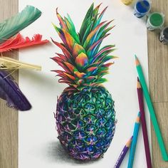 Pencil Drawing Tutorials pineapple color pencil drawing - Color Pencil Drawings: Leona Chui is an artist from Vancouver, Canada. She enjoys creating vibrant, surreal color pencil drawings which is inspired from movies and nature. She is a great fan of the Cool Art Drawings, Pencil Art Drawings, Colorful Drawings, Art Sketches, Drawing Art, Drawing Pics, Horse Drawings, Unique Drawings, Sketch Painting
