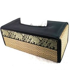 Tissue Box Cover Natural REED Handmade Gold Elephant Thai Silk Black Rectangular #Unbranded