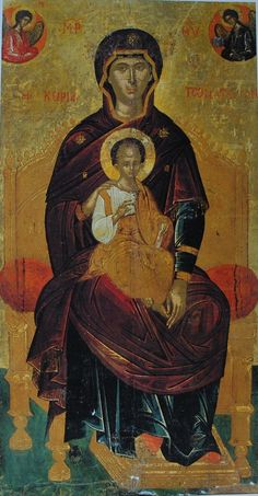 Virgin Enthroned with Jesus icon Madonna, Byzantine Art, Byzantine Icons, Religious Icons, Religious Art, Art Timeline, Statues, Christian Artwork, Religion Catolica