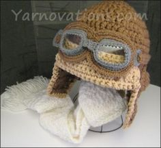 Aviator Hat crochet pattern. Cute!