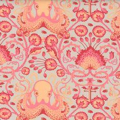 Tula Pink Fabric Salt Water: Octo Garden Coral. ***OCTOPUS WALLPAPER***