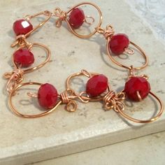 Handmade copper bracelet deep red crystals wire by RememberThis3, $19.88