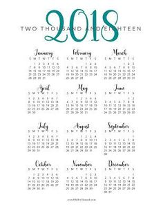 Printable calendar 2018, portrait paper orientation, weeks ...