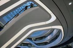 Inside Beijing's Coolest New Building: Zaha Hadid's Galaxy Soho Zaha Hadid Architecture, Futuristic Architecture, Interior Architecture, Shopping Malls, Shop Front Design, Shop Window Displays, Atrium, Ceiling Design, Retail Design