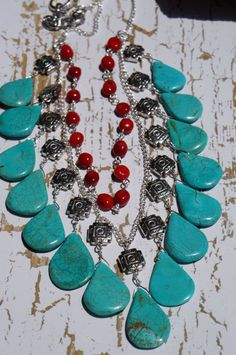 Turquoise Drop Red Coral and Silver Statement by fleurdesignz