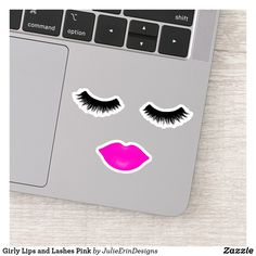 Girly Lips and Lashes Pink Sticker Pink Lipstick Makeup, Pink Lipsticks, Big Eyelashes, Bright Pink Lips, Cute Laptop Stickers, Design Your Own Stickers, Vinyl Sheets, Sticker Shop, Christmas Card Holders