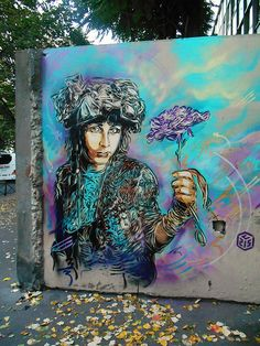 Paris, street art, graffitti, blue, beautiful, photo.