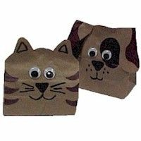 Paper Bag Animals made from paper bags and simple materials. Great craft for the kids. www.freekidscrafts.com