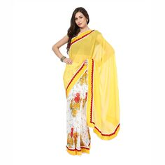 Buy Stylish Yellow Color Georgette Fabric #Saree Now For Only @INR 899/- Get Here! #YellowSaree #FreeShipping
