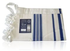 Prima AA Wool Tallit with Blue Stripes by World of Judaica. $84.00. This Prima AA Wool Tallit has blue stripes in different widths on its sides, white Atara at the top and Tzitzit tied to each of its corners a well as knotted fringes on the sides. This handsome Prima AA wool Tallit was made from100% sheep's wool strands and has blue stripes that run vertically down the sides. The Tallit has Tzitzit tried to each corner and has knotted fringes that run along the left an...