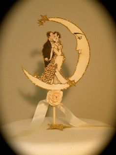 Vintage Moon Wedding Cake Topper - Deco Bride And Groom , Paper Rose - Small Size - Outlined in Gold Glitter Wedding Cake Toppers, Wedding Cakes, Art Deco Cake, Vintage Moon, Moon Wedding, British Wedding, Art Deco Wedding, Blush Roses, Moon Art