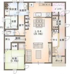 kodate_0104_1f Craftsman Floor Plans, House Floor Plans, Home Building Design, Building A House, Style At Home, L Dk, Sims House Design, Floor Plan Layout, Underground Homes