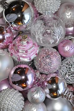 Christmas ornaments...LOVE the snowy tree one :)