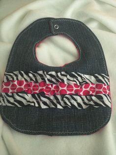 Denim Baby Bib - Ribbon Ruffles - Pink Polka Dots by SewCraftyCat, $4.00