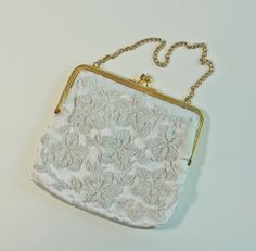Small Ivory Beaded Hand Bag Purse  Vintage Bridal by RetrofitStyle, $17.00