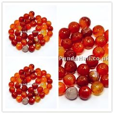 Natural Agate Beads Strands, Dyed, Faceted, Round, OrangeRed, 10mm