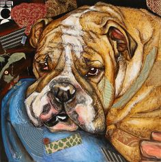 """My artwork """"Hey Bulldog"""" mixed-media, collage. All size prints available, framed and unframed"""