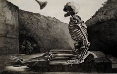 Martín after Jacques Gamelin, A skeleton awakes to the last trump on Judgement Day, Wellcome Images, Spooky Scary, Creepy, Vanitas Paintings, Philippe De Champaigne, St Nicholas Church, Human Skeleton, Macabre Art, Caravaggio, Metropolitan Museum
