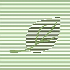Contemporary cross stitch pattern in soft greens. Minimalist embroidery chart. Modern design. 'Floating leaf'. A very beautiful minimalist cross stitch pattern of a single leaf in subdue shades of green, the finished piece will look at home in any modern living setting. Easy to follow, the embroidery chart is suitable for pros and beginners alike.