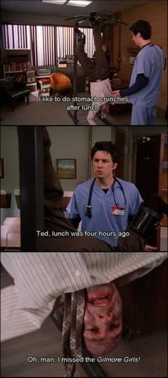 Oh, man. I missed Gilmore Girls! Tv Show Quotes, Movie Quotes, Movies Showing, Movies And Tv Shows, Scrubs Quotes, Scrubs Tv Shows, Funny Pictures, Funny Pics, Funny Stuff