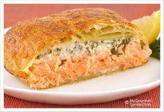 Herbed Salmon en Croute ... Salmon, tarragon, lemon, cream cheese, in a puff pastry (wellington style)