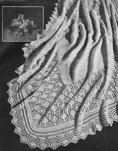 "Traditional Shetland knit baby shawl - ""Fleecy"" from Patons Knitting Book No. 450 - free"