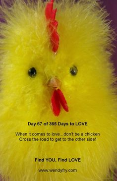 Day 67 of 365 Days to LOVE.  When it comes to love don't be chicken. Find YOU Find LOVE, available on amazonhttp://www.amazon.co.uk/dp/1910202460    Helping you to get to the heart of your love and relationship problems.