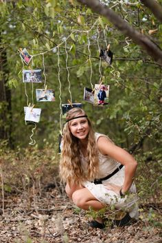 Cute Senior Photo idea, the photographs in the background are photos of this girl growing up.