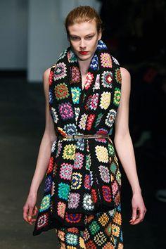 Fantastic granny wrap at London Fashion Week - House of Holland!