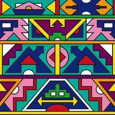 "Stoffmuster ""Afrika Ndebele Muster"" von SaNe-Stücke"