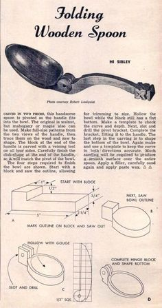 #1870 Making Folding Wooden Spoon - Wood Carving Woodworking Plans