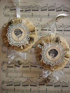 rosettes made with paper punch.