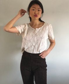 f637fe00564bd9 80s lace tee tshirt blouse / vintage sheer cream lace scoop neck tee /  ivory lacey