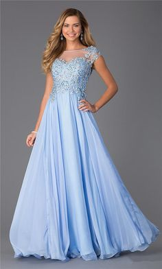 Long Cool Blue Beaded CD-1137 Lace Prom Dresses 2015