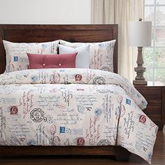 6 Piece  Natural Look Classic French Country Quotes Printed Pattern Duvet Cover Set Purple Duvet, Unicorn Duvet Cover, French Bed, Toss Pillows, Duvet Cover Sets, French Country, Bedding Sets, Bedroom Decor, Country Quotes