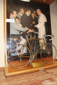 Ernesto Colnago presented this bicycle to Pope John Paul II in 1979. After the Pope's death, the bike was auctioned off to a collector from whom Colnago later repuchased it