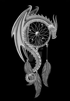 The Dream Guardian 'dragon and a dream catcher' by CLB-Raveneye on deviantART . This would be great for a tattoo in remembrance of my dad. He loved dragons. Atrapasueños Tattoo, Tattoo Hals, Tatoo Art, Tattoo Shop, Tattoo Thigh, Tattoo Feather, Dragon Tattoo Leg, Tribal Dragon Tattoos, Grey Tattoo