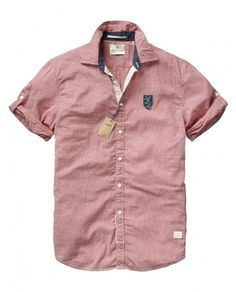 - Short-sleeved shirt with badge and jute details - Shirts - Scotch & Soda Online Shop Cool Shirts For Men, Men Shirts, Sports Shirts, Shirt Men, Casual Shirts, Children Wear, Kids Wear, Menswear Trends, Flannels