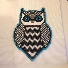 Tribal owl perler art by kilaueaz