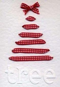 Biglietti d'auguri fai da te di Natale - Albero di stoffa