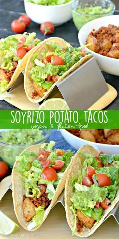 Soyrizo Potato Tacos (made with soy chorizo) are vegan and gluten-free. They are easy to make for Meatless Monday, Taco Tuesday, or any day of the week! via @VeggiesSave