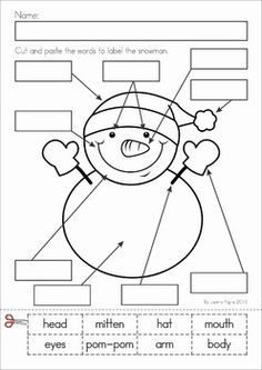 Kindergarten Winter Literacy Worksheets & Activities No Prep. A page from the unit: label the snowman