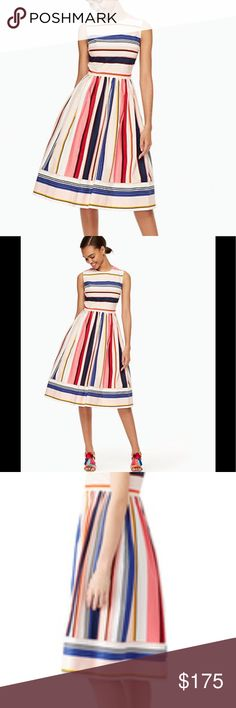 ♠️NEW♠️ KATE SPADE Gorgeous Fit & Flare Dress KATE SPADE ♠️ NEW YORK Berber Stripe Fit & Flare Dress. Gorgeous Pops of Color Stripes. Exposed Gold Zipper in Back. Hand Pockets. Great Easter dress, Biz Casual or for a Night out. Perfectly Stunning! Open to Reasonable Offers♠️😍 kate spade Dresses Midi
